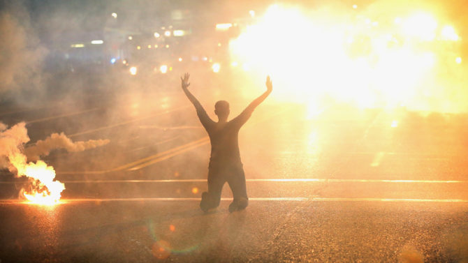 FERGUSON, MO - AUGUST 17: Tear