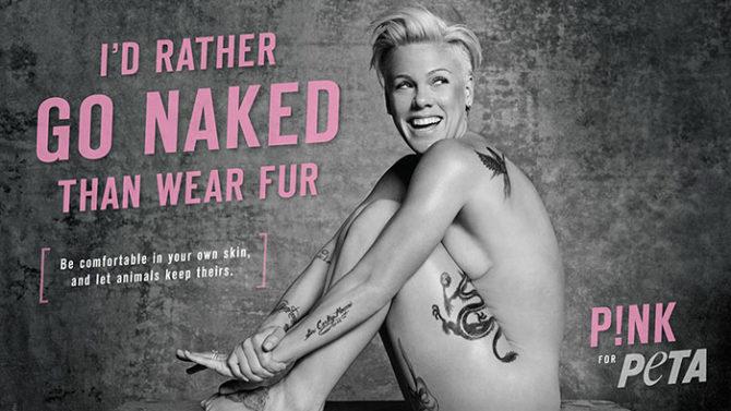 Pink desnuda PETA