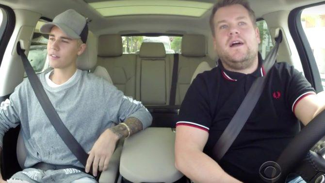 James Corden y Justin Bieber cantan