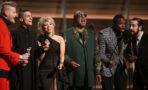 Stevie Wonder, center, and from left