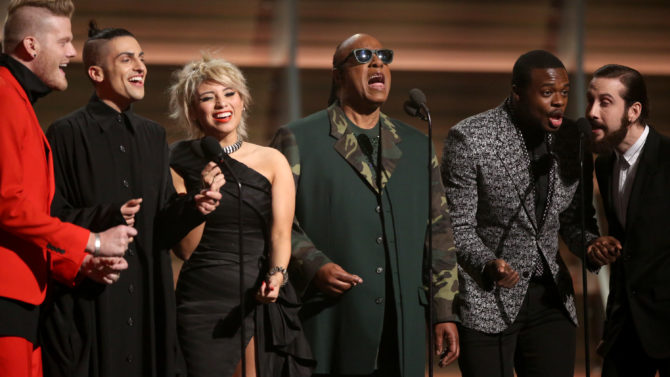 Stevie Wonder, center, and from left