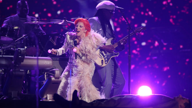 Lady Gaga performs a tribute to