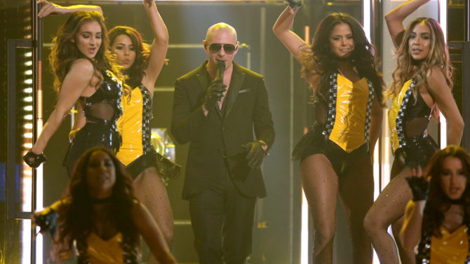 Pitbull performs at the 58th annual