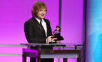 Ed Sheeran accepts the award for