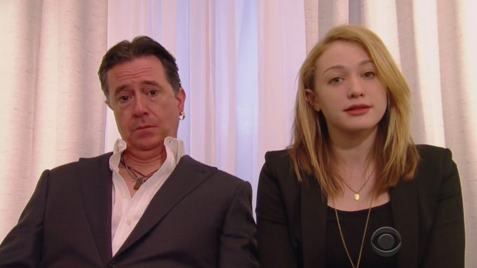Stephen Colbert parodia disculpa de Amber