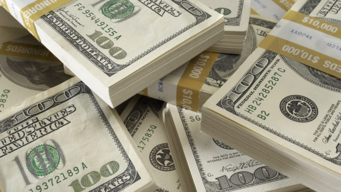 Stack of US Currency Currencies