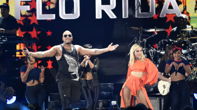 Bebe Rexha, right, and Flo Rida