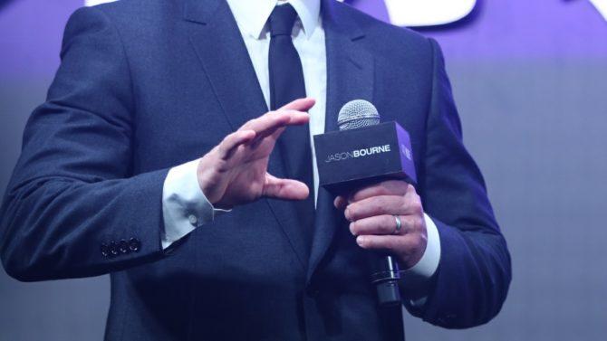 American actor Matt Damon speaks on
