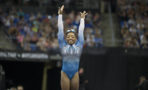 Simone Biles competes on the second