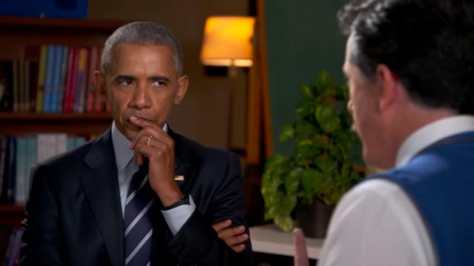 Barack Obama y Stephen Colbert
