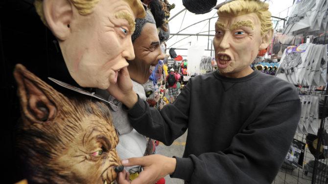 Donald Trump masks Halloween masks on