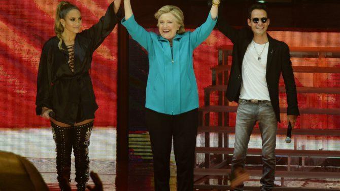Hillary Clinton, Jennifer López y Marc