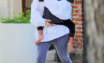 Kim Kardashian runs fearfully to her